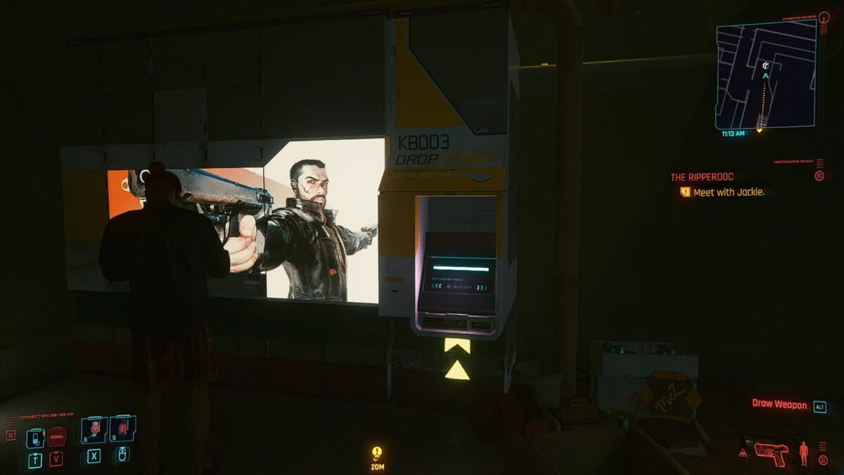 Cyberpunk 2077 Money Making Drop Point Machine next to V's apartment