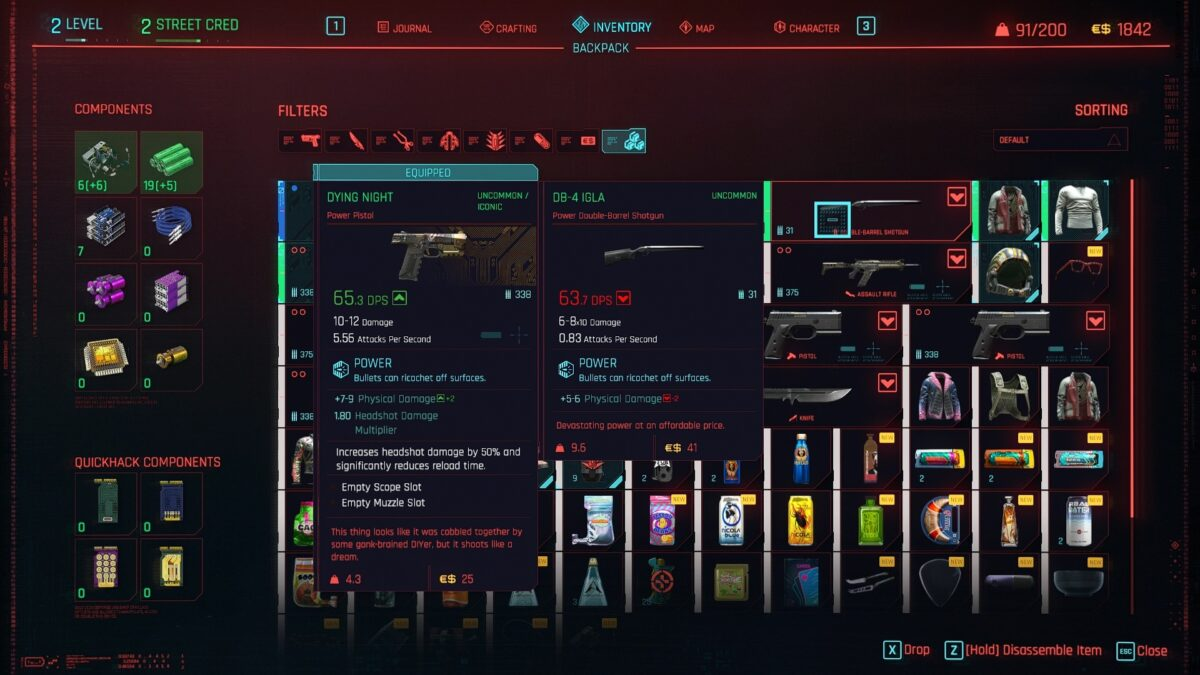 Cyberpunk 2077 inventory with display of received components when disassembling a weapon