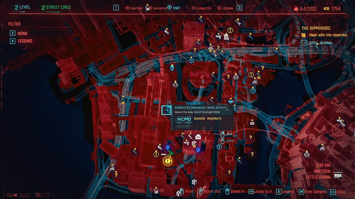 Cyberpunk 2077 Money Making Guide View of the Night City map with marked gang crime