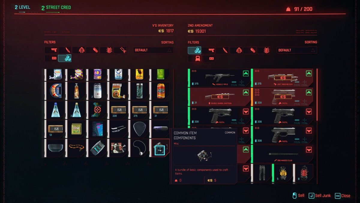 Cyberpunk 2077 Money Making Guide Crafting Components in Inventory