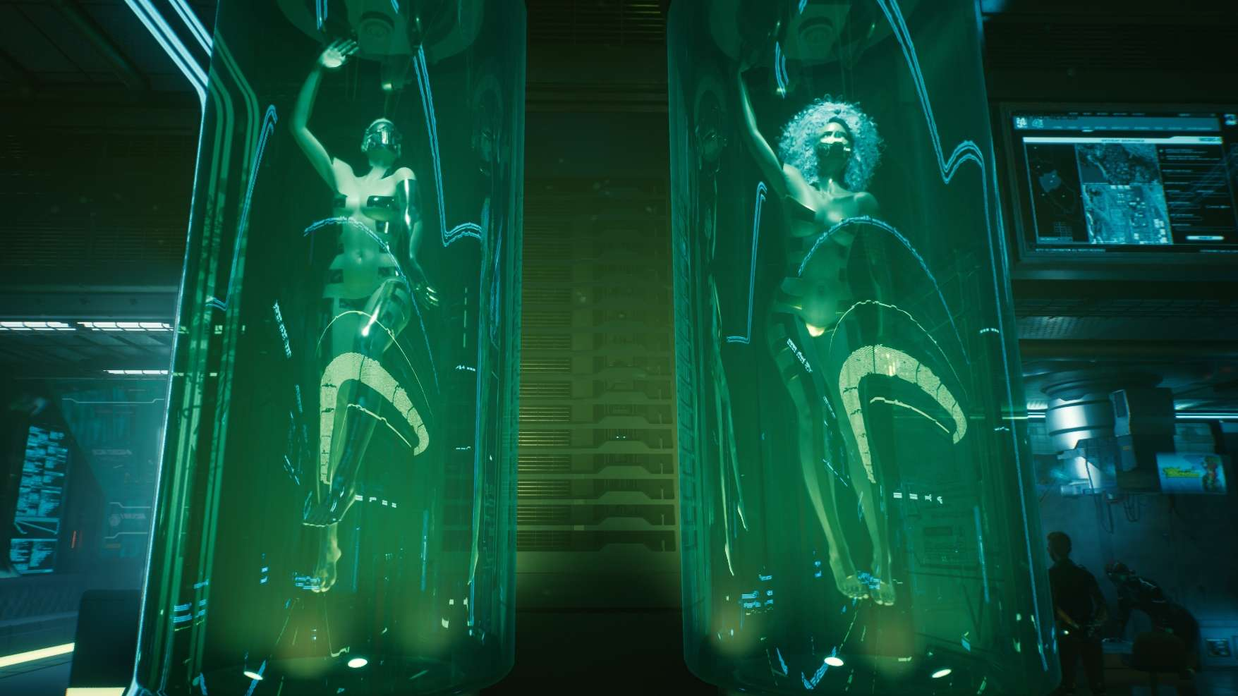 Cyberpunk 2077 Sex-Kolumne zwei Frauen in Plastikröhren mit teilweise abgeklebtem nackten Körper