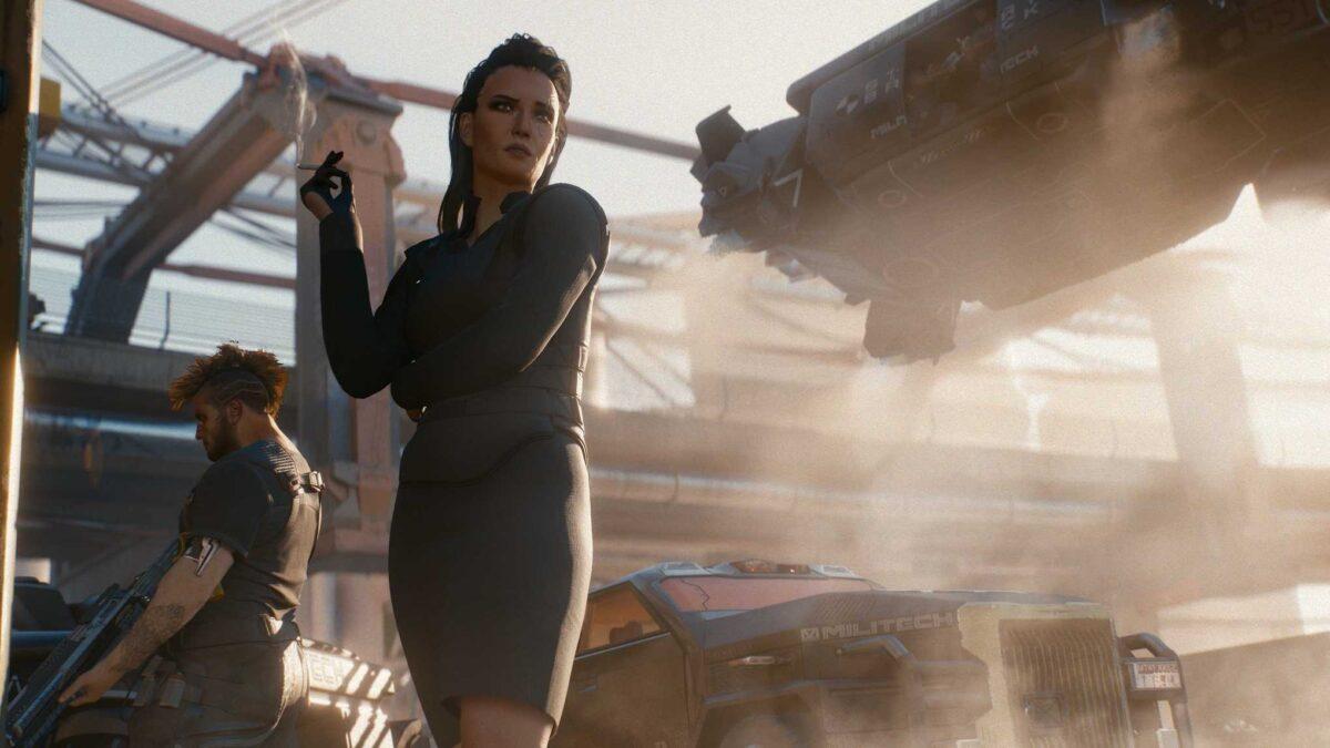 Cyberpunk 2077 Sex-Kolumne Meretith Stout rauchend in Corpo-Kleidung vor landendem Fahrzeug