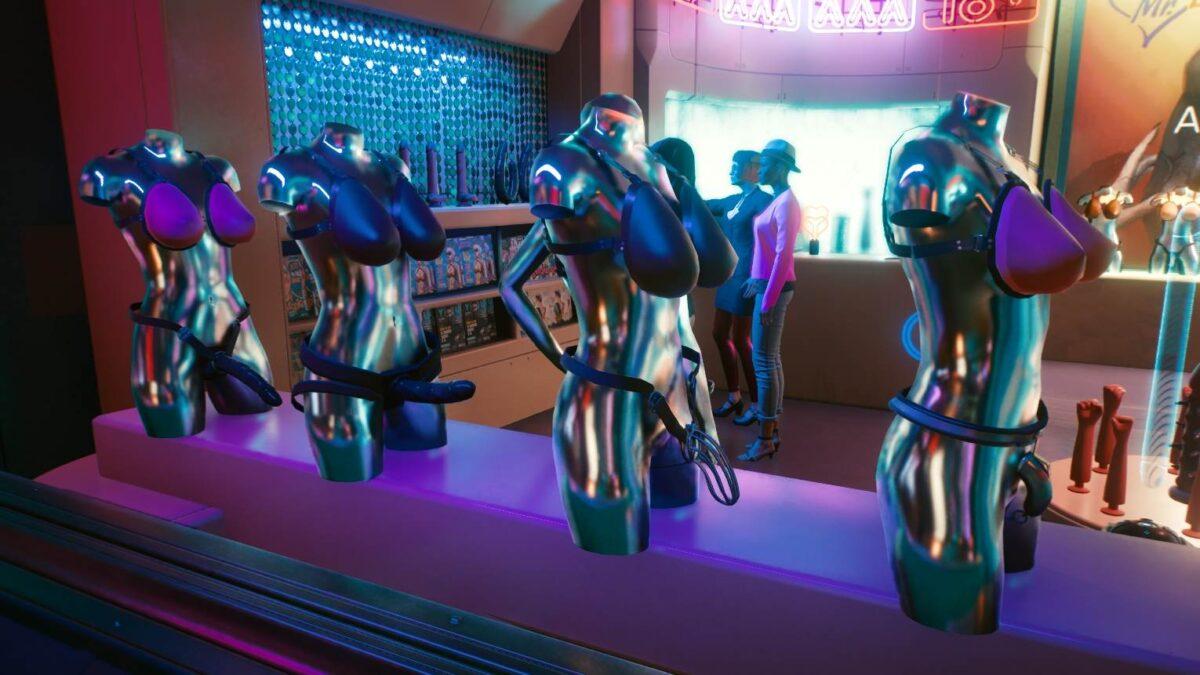 Cyberpunk 2077 Sex-Kolumne Vier Halbkörper-Büsten mit aufgeschnallten Fakebrüsten und Strapons oder Peniskäfigen