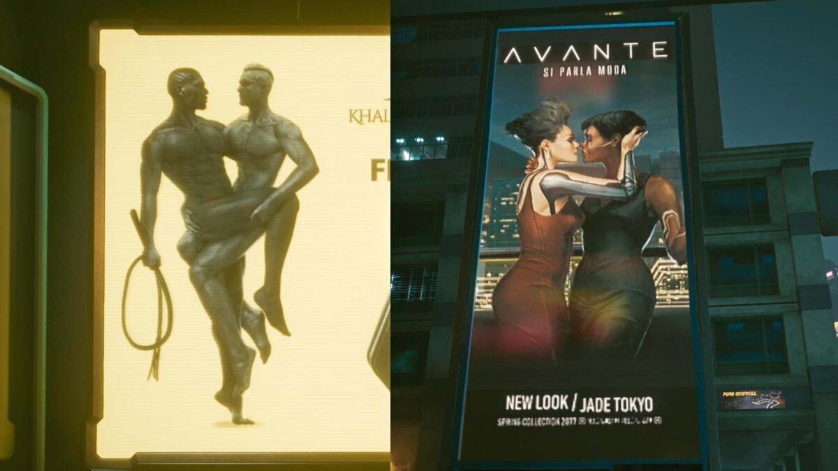 Cyberpunk 2077 Sex-Kolumne Zwei Werbeplakate mit einem schwulen (links) und einem lesbischen (rechts) Paar
