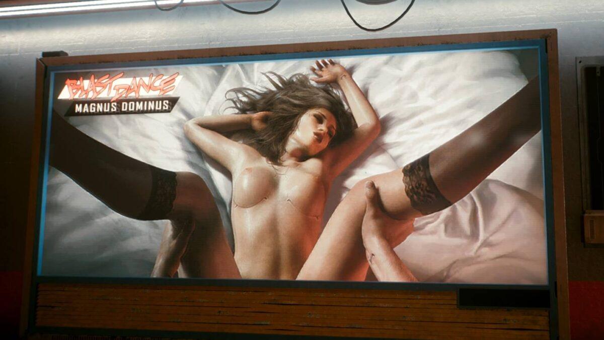 Cyberpunk 2077 Sex-Kolumne Nackte Frau auf Bett mit gespreizten Beinen ohne sichtbaren Genitalbereich, Beine werden von Männerhänden gehalten