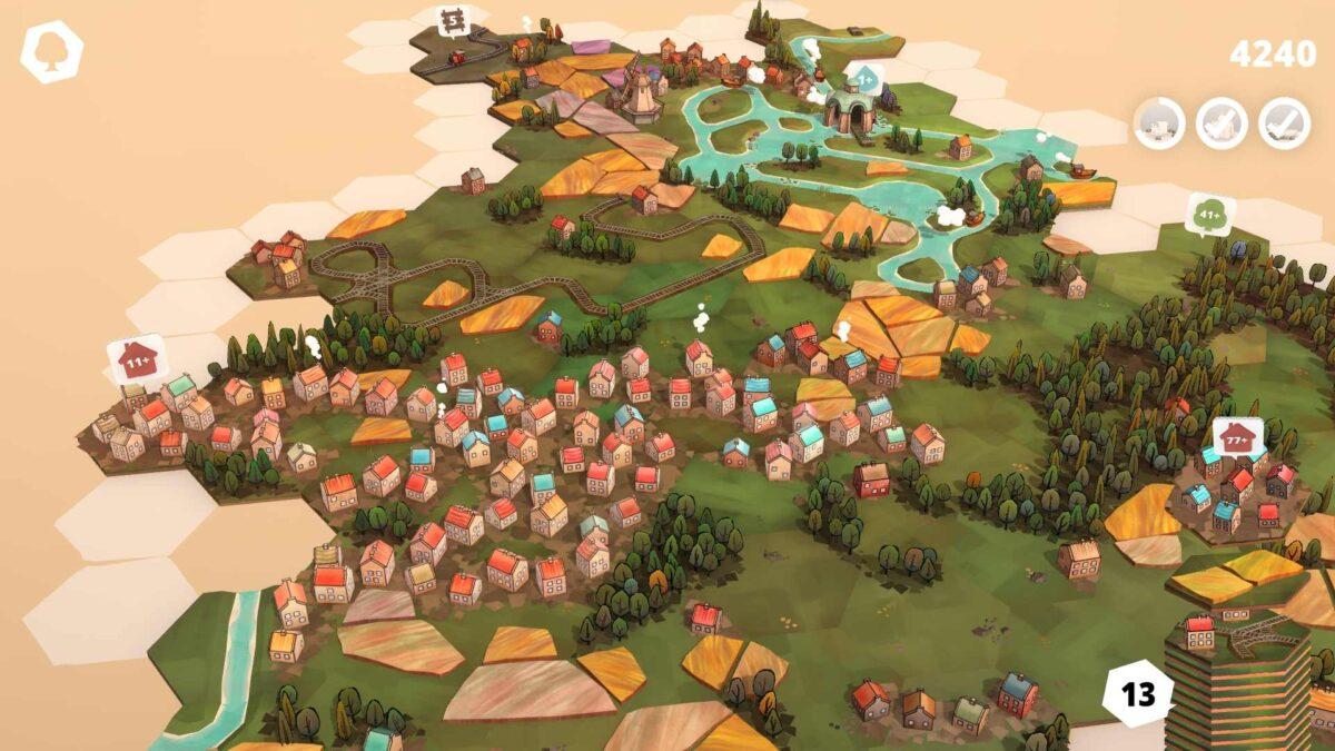 Dorfromantik Spielfläche aus hexagonalen aneinander gelegten Landschafts-Kärtchen mit Lücken