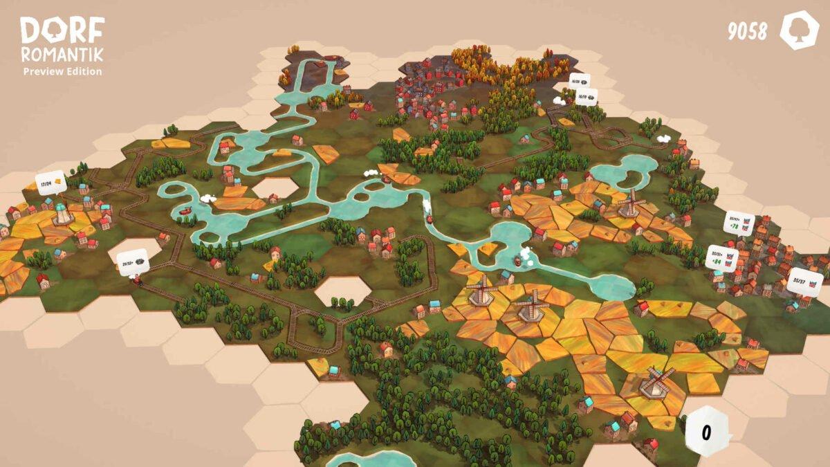 Dorfromantik große Spielfläche aus aneinander gelegten hexagonalen Kärtchen mit Wäldern, Feldern, Dörfern und Gewässern