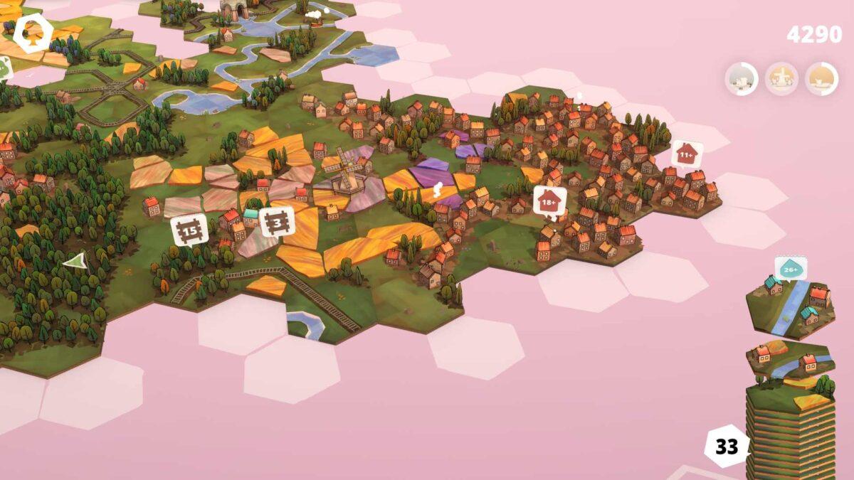 Dorfromantik Spielfläche mit zwei offenen Eisenbahn-Quests und größerer Menge bereits gelegter Kärtchen