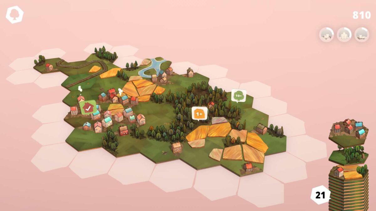 Dorfromantik Spielfeld mit ersten Wälder- und Felderkärtchen