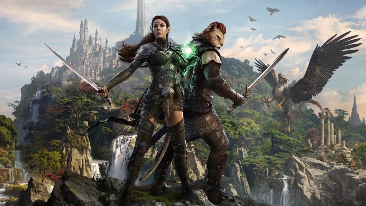 Elfe und Khajiit stehen bewaffnet vor Kulisse der Insel Sommersend