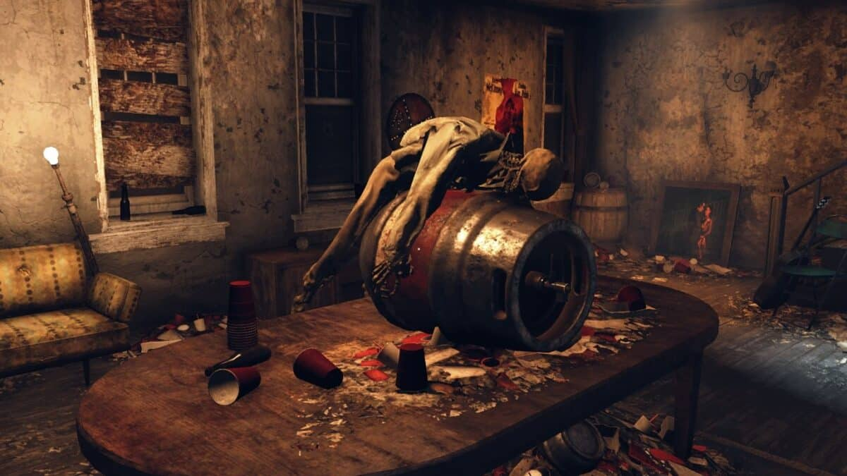 Leiche auf Turbine auf Tisch in Fallout 76