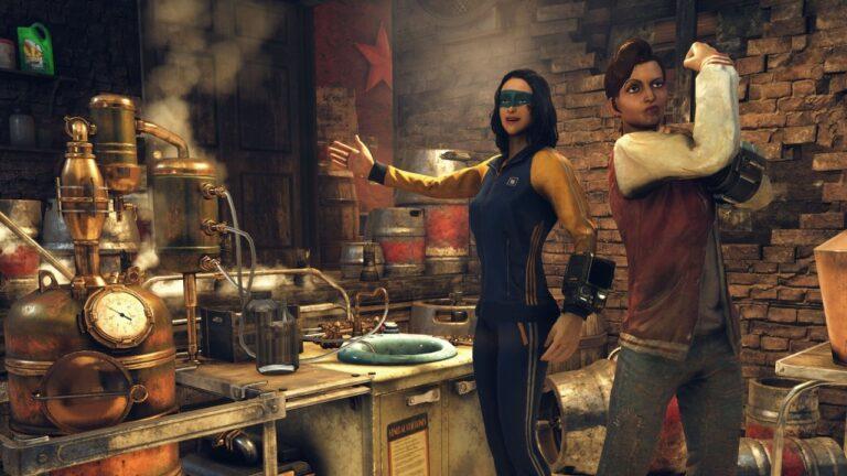 Zwei Frauen posieren vor der Braustation von Fallout 76