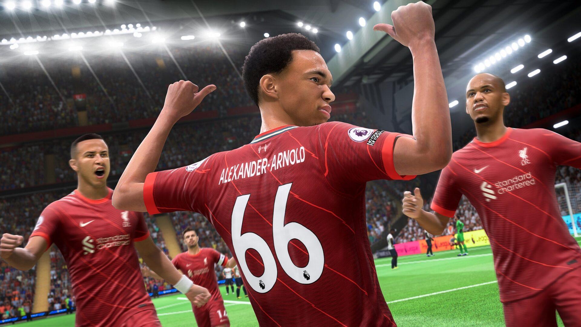 Der Fußballprofi Trent Alexander-Arnold jubelt im aktuellen Videospiel FIFA 22.