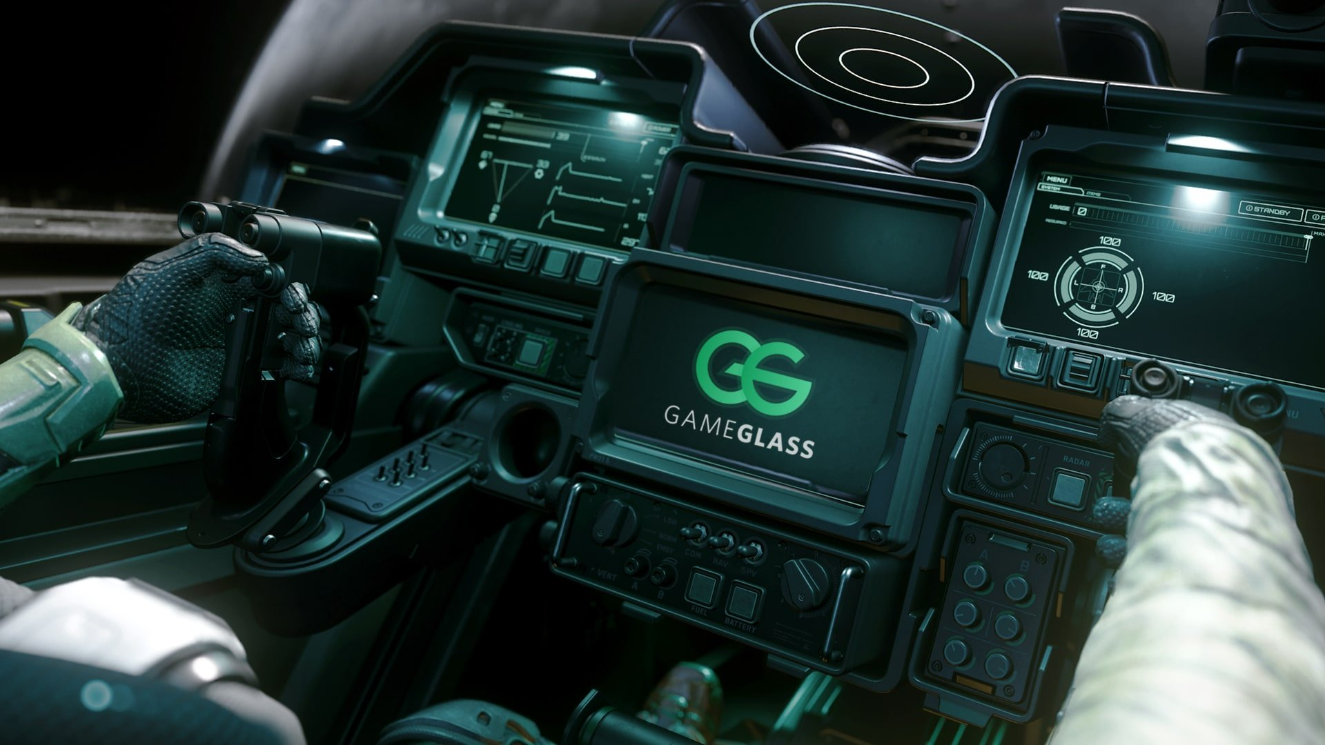 headerbild zu GameGlass für Star Citizen, GameGlass Logo in Raumschiff-Cockpit