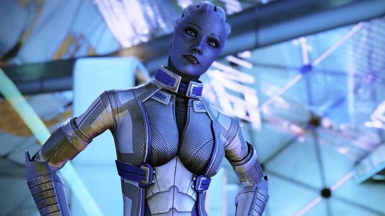 Cyberpunk 2077 Sex-Kolumne Liara T'Soni-Oberkörperansicht aus der Mass Effect Legendary Edition