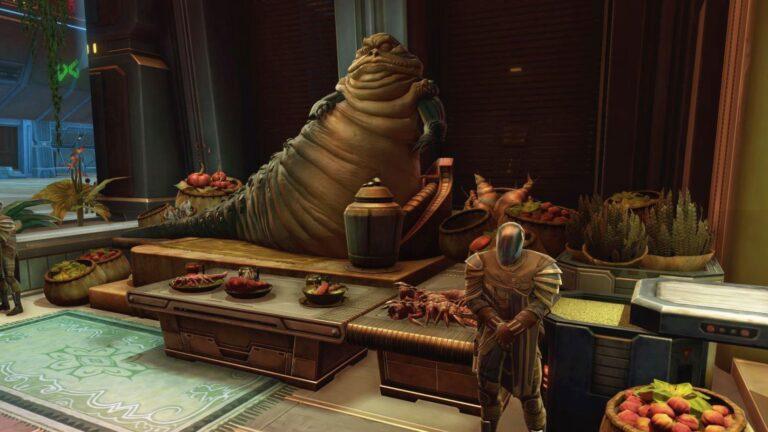 Star Wars The old Republic Fest des Wohlstandes großer Hutte sitzt vor einer Menge aufgebauter Speisen