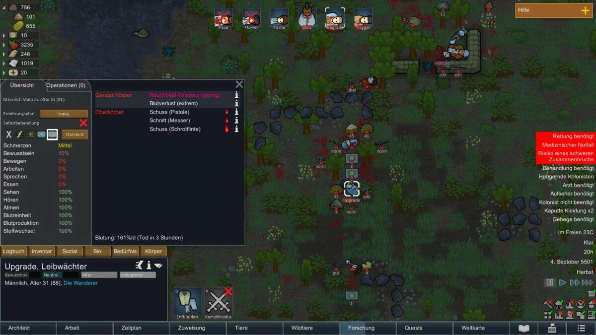 Rimworld Review Test Mehrere Kolonisten liegen tot oder nahe des Todes herum