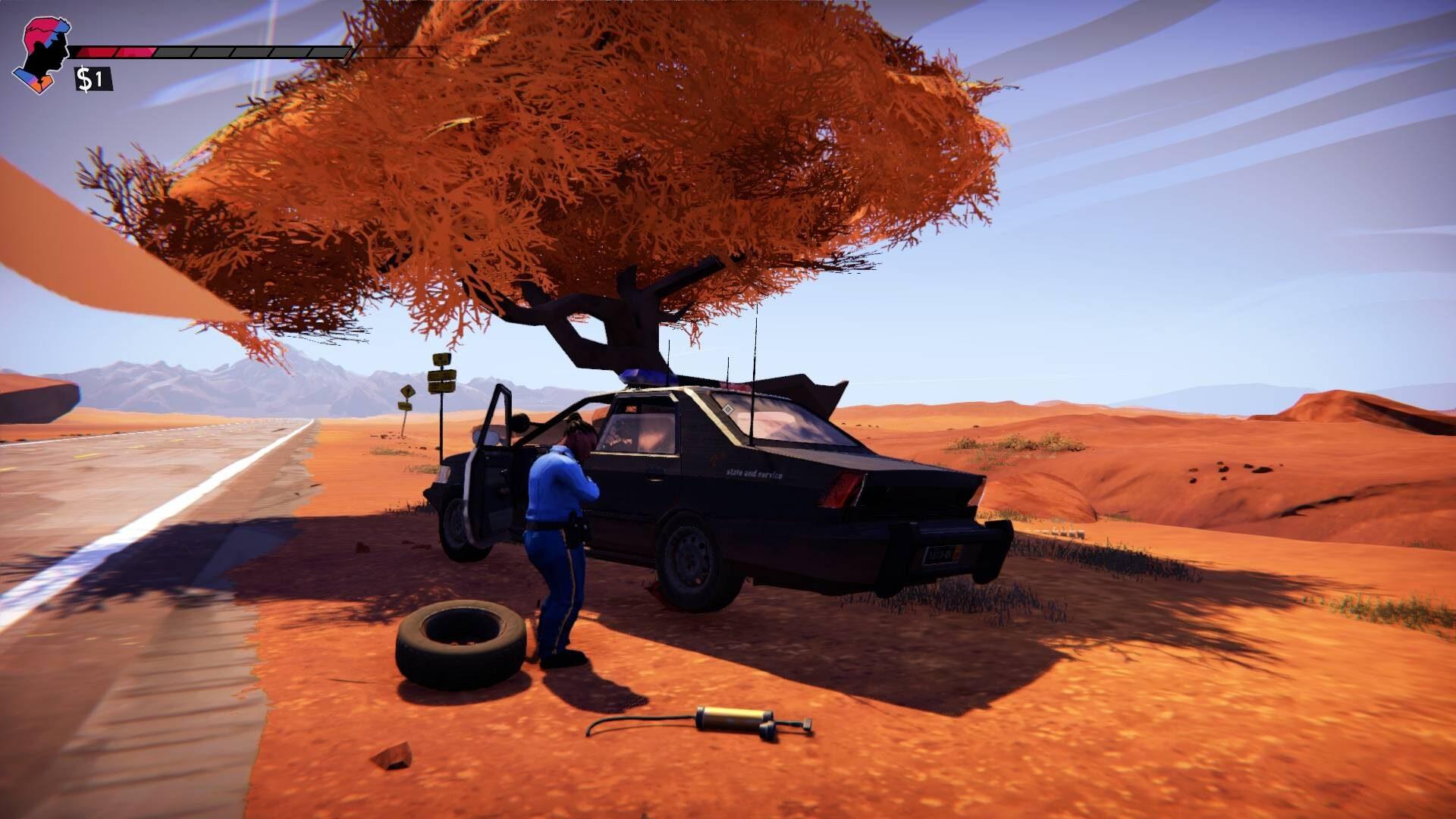 Road 96 Review Polizeiauto mit Platten unter Baum auf einer Wüstenstraße und Polizistin davor