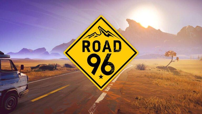Road 96 Review Blick auf eine Landstraße in Wüstenlandschaft