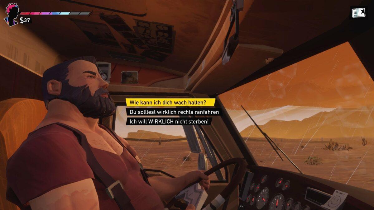 Road 96 Review Bärtiger Mann auf Fahrersitz eines Trucks mit drei Gesprächsoptionen
