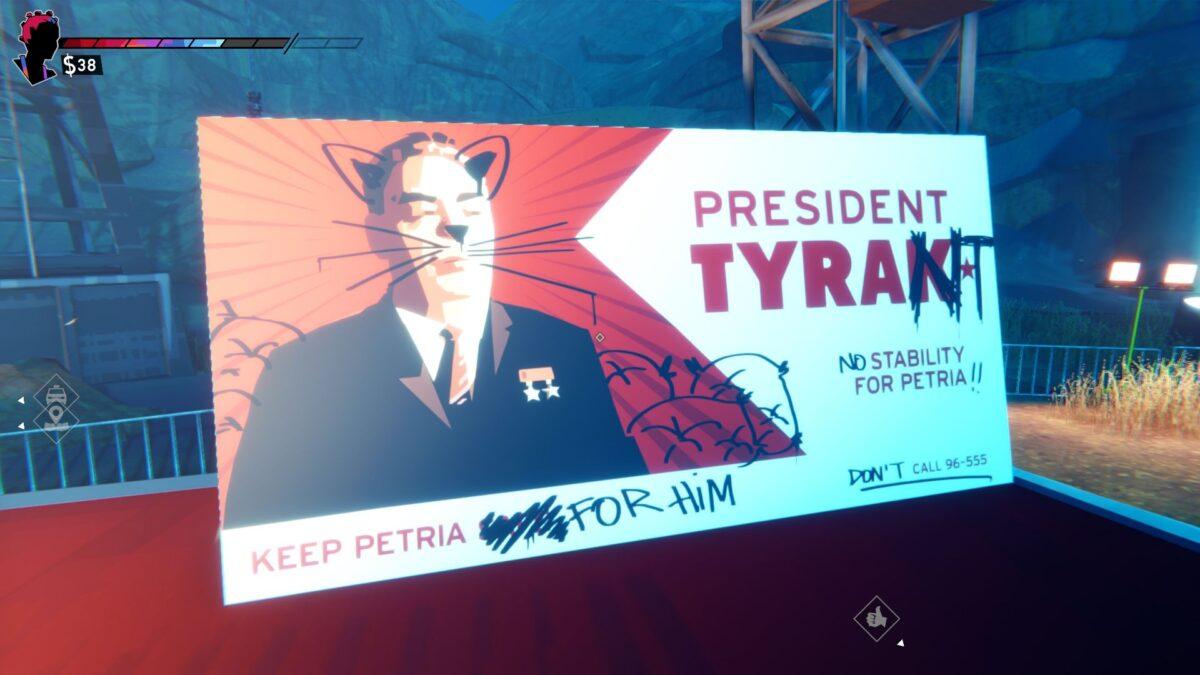 Road 96 Review Verschmiertes Wahlwerbungsplakat von Präsident Tyrak