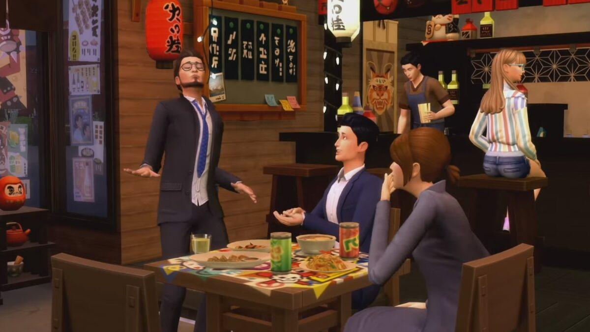 Sims 4 Ab ins Schneeparadies Büroangestellte feiern in traditionellem Restaurant nach der Arbeit