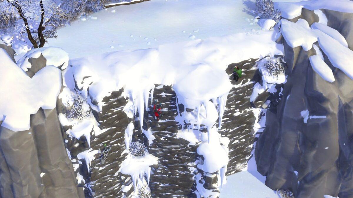 Sims 4 Ab ins Schneeparadies Drei Sims klettern eine hohe, verschneite Steilwand hinauf