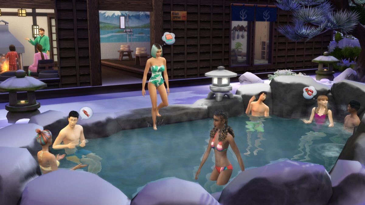 Sims 4 Ab ins Schneeparadies Sims entspannen gemeinsam in einer natürlichen heißen Quelle