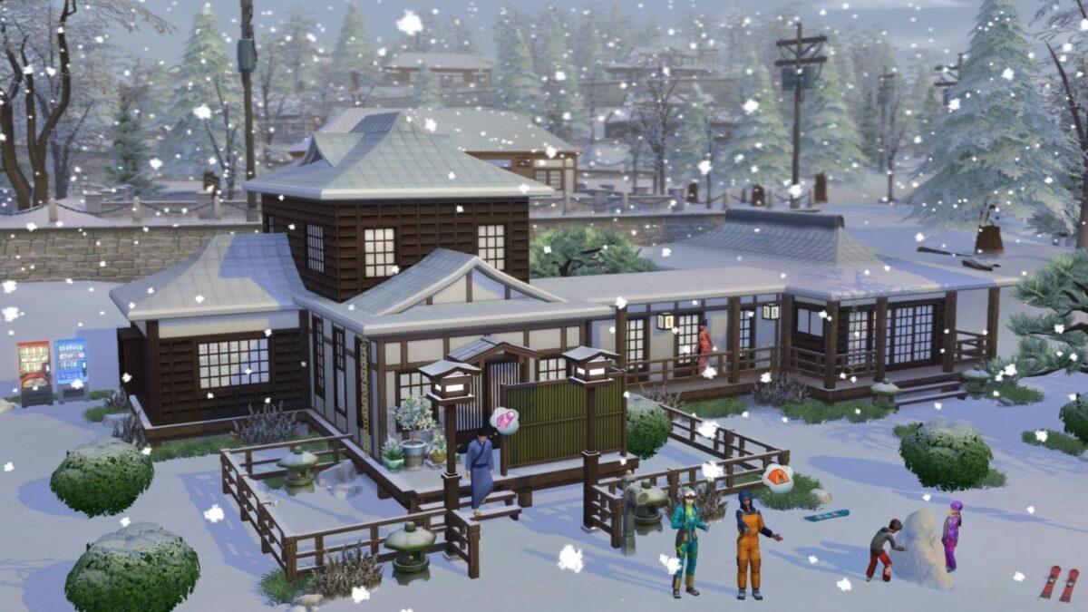 Sims 4 Ab ins Schneeparadies Urlauber in Schneekleidung stehen vor japanischem Haus, während es schneit