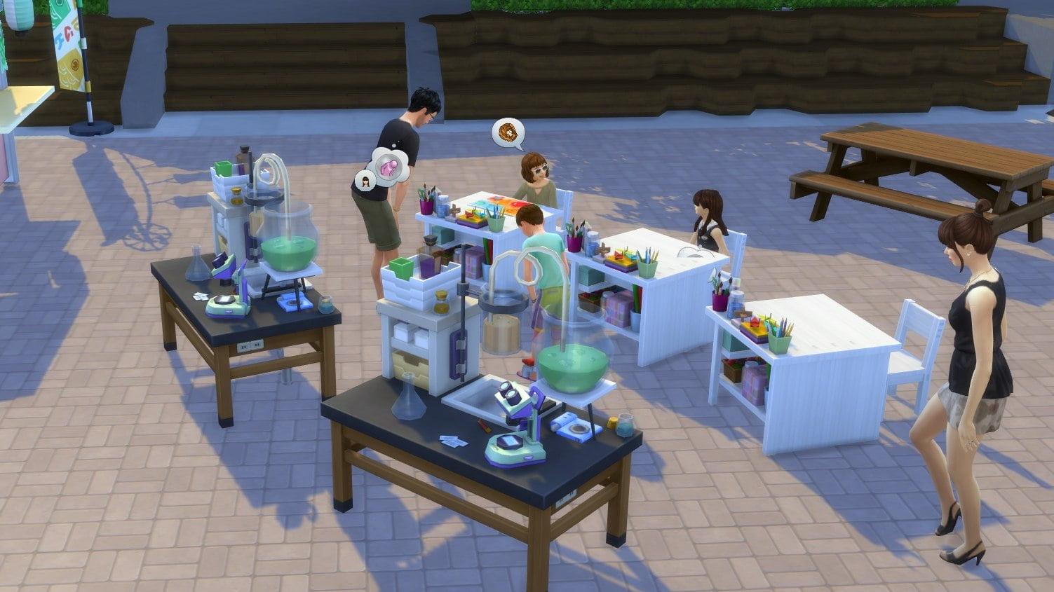 Sims 4 Ab ins Schneeparadies Kinder erlernen spielerisch an Kreativtischen während des Jugendfests neue Fähigkeiten