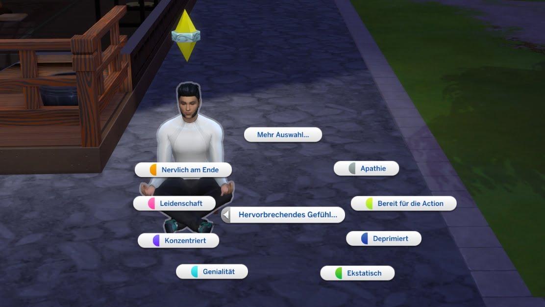 """Sims 4 Ab ins Schneeparadies Auswahlmenü für die Option """"Hervorbrechende Gefühle"""""""