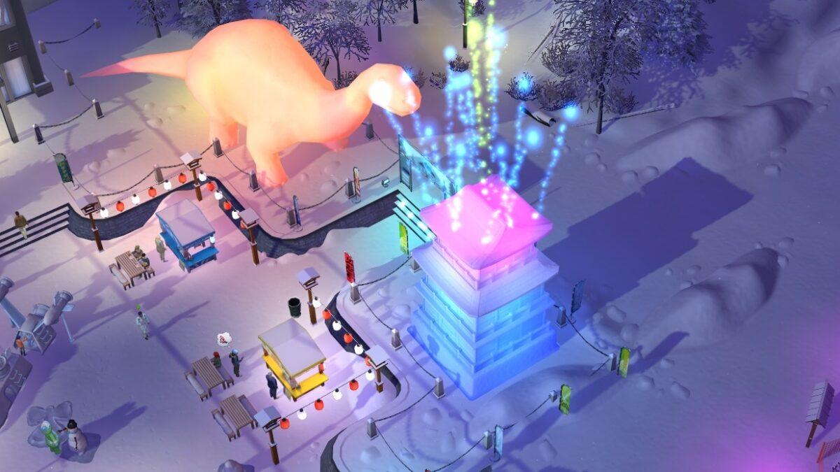Sims 4 Ab ins Schneeparadies Beleuchtete Riesenschneeskulpturen und Feuerwerk beim Schneefest