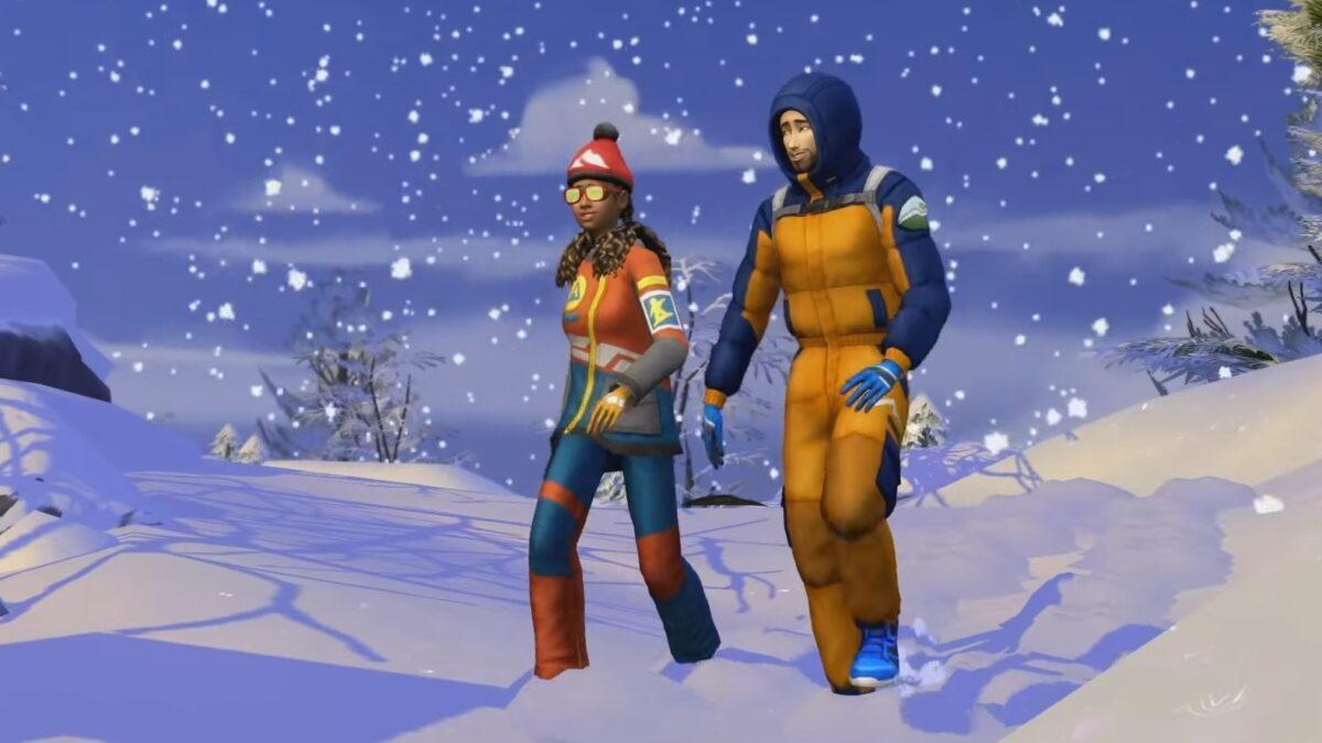 Sims 4 Ab ins Schneeparadies Zwei Sims in Schneekleidung wandern durch eine Winterlandschaft