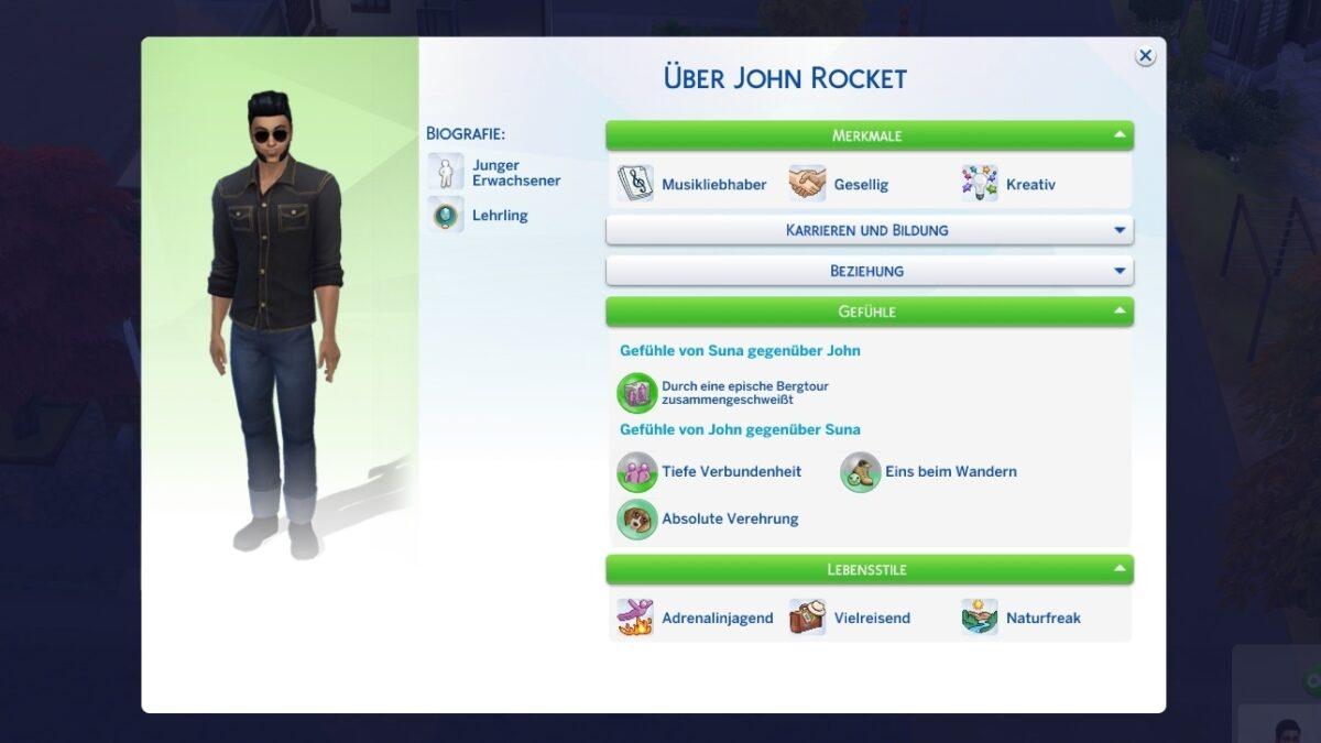 Sims 4 Ab ins Schneeparadies Blick in das Sim-Profil eines Sims