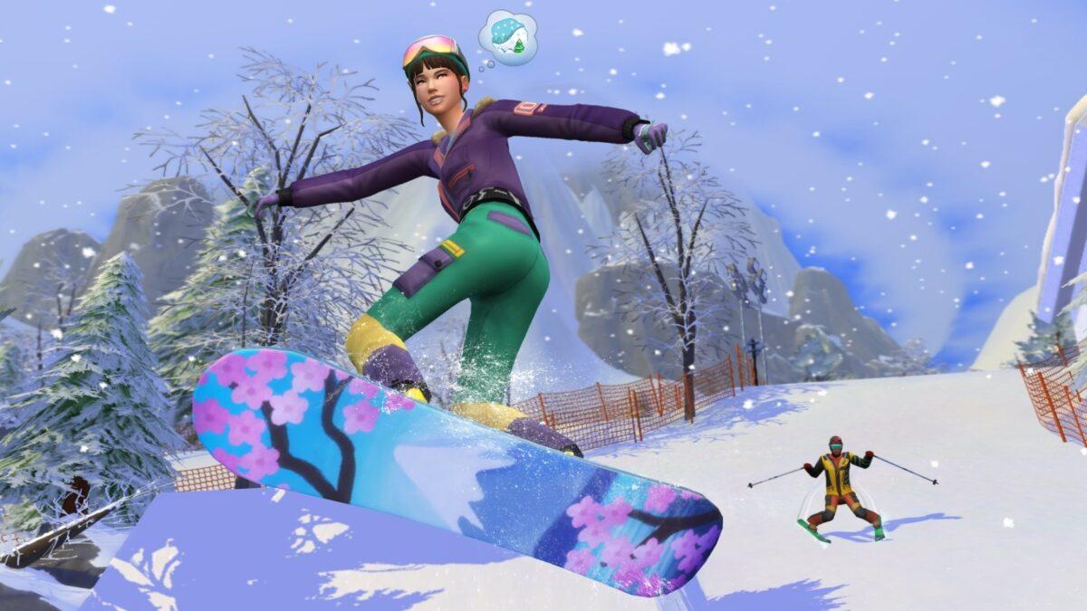 Sims 4 Ab ins Schneeparadies Zwei Sims beim Snowboarden und Skifahren
