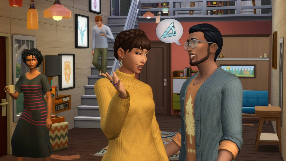 Mehrere Sims in Wohnraum eines Tiny House in Sims 4