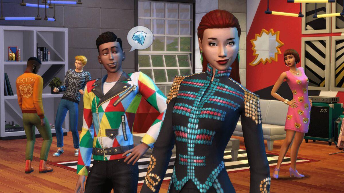 Zwei Sims posieren in modisch-schriller Kleidung in Sims 4