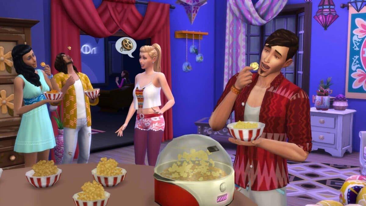 Sim isst im Vordergrund Popcorn, im Hintergrund spricht eine Simgruppe miteinander
