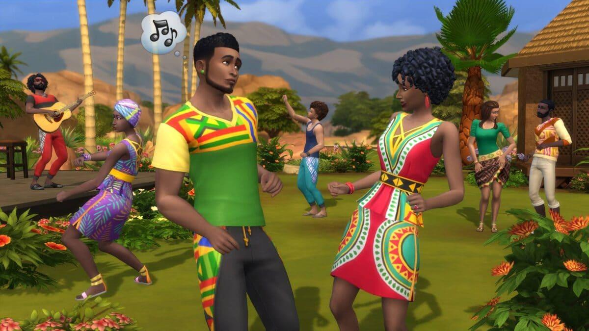 Zwei Sims knüpfen in blühendem Garten Beziehungen in Sims 4