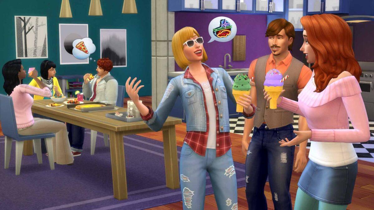 Gruppe aus mehreren Sims plaudert locker miteinander