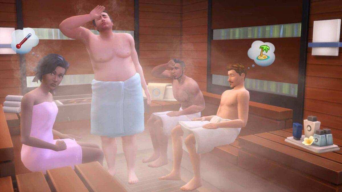 Mehrere Sims schwitzen in der Sauna