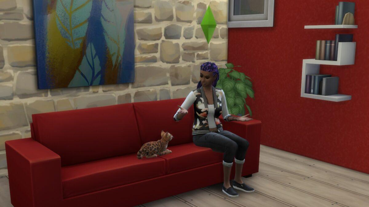 Frau spricht mit Katze auf Sofa