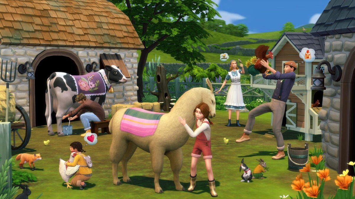 Sims 4 Landhaus-Leben Guide Bauernhofszene mit Lama, Hühnern, Fuchs und Sim-Familie