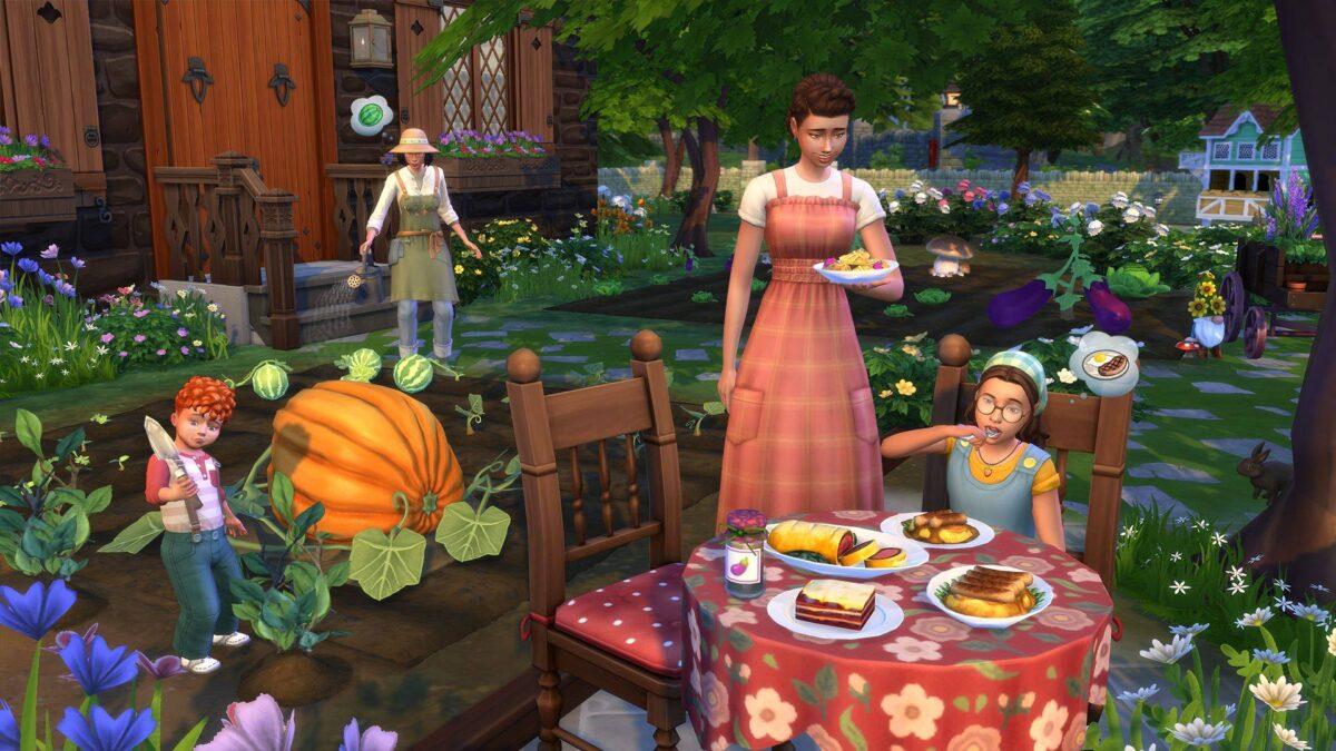 Sims 4 Landhaus-Leben Guide Sim-Familie am Esstisch im Freien, Kind gärtnert im Hintergrund