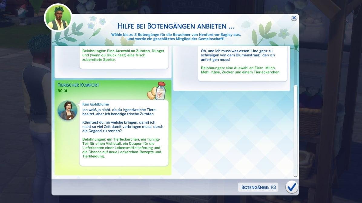 Sims 4 Landhaus-Leben Guide Übersicht von drei Botengang-Aufgaben