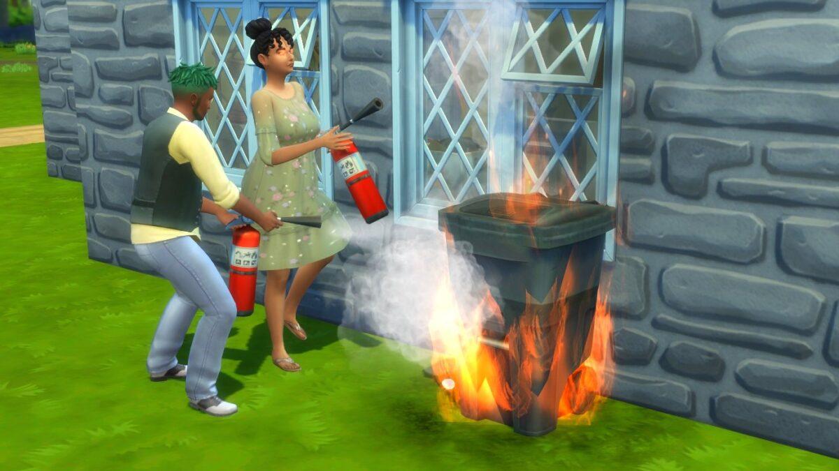 Sims 4 Landhaus-Leben Guide Zwei Sims mit Feuerlöschern löschen brennende Mülltonne