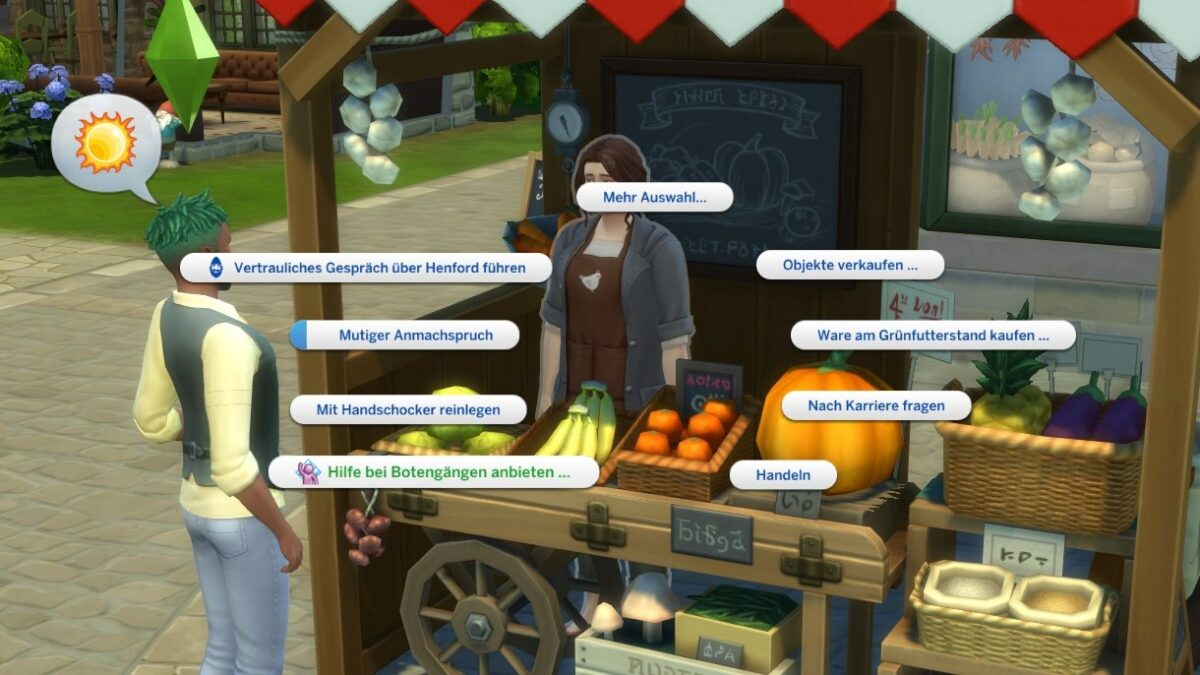Sims 4 Landhausleben Guide Sim bei Grünfutterstand in Finchwick mit Gesprächsoptionenmenü