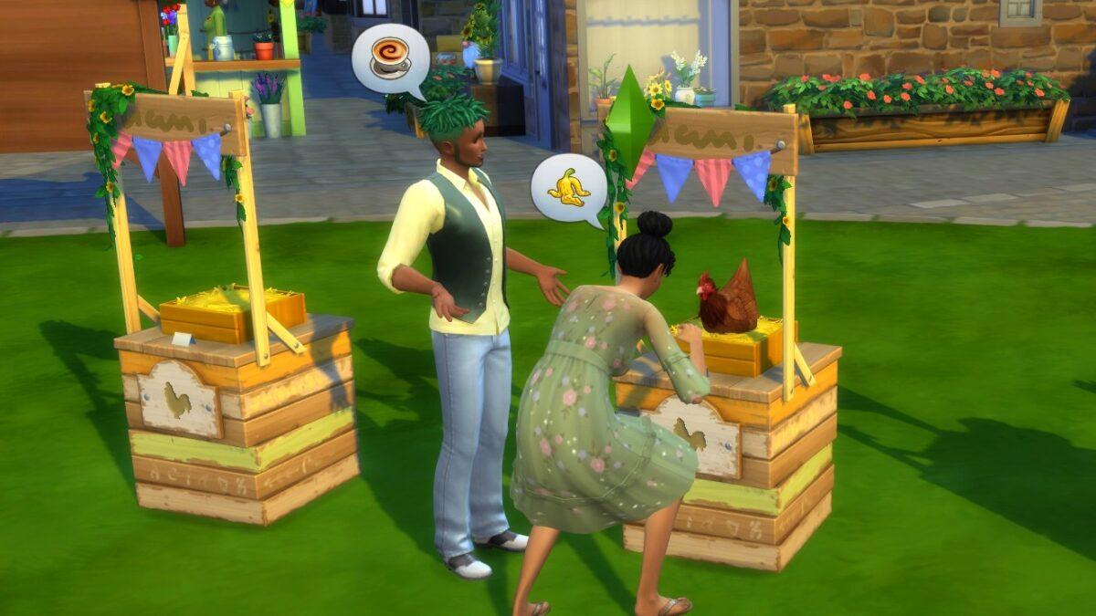 Sims 4 Landhaus-Leben Guide Zwei Sims platzieren Henne auf Wettbewerbsnest