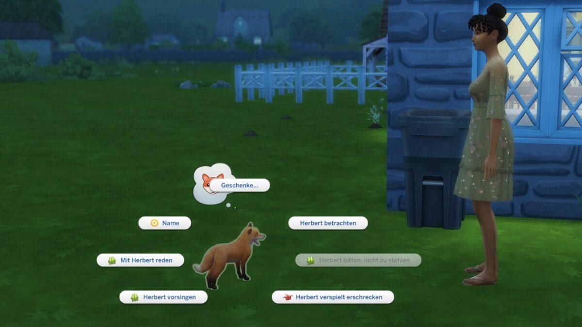 Sims 4 Landhaus-Leben Guide Sim und Fuchs mit Interaktions-Optionsmenü