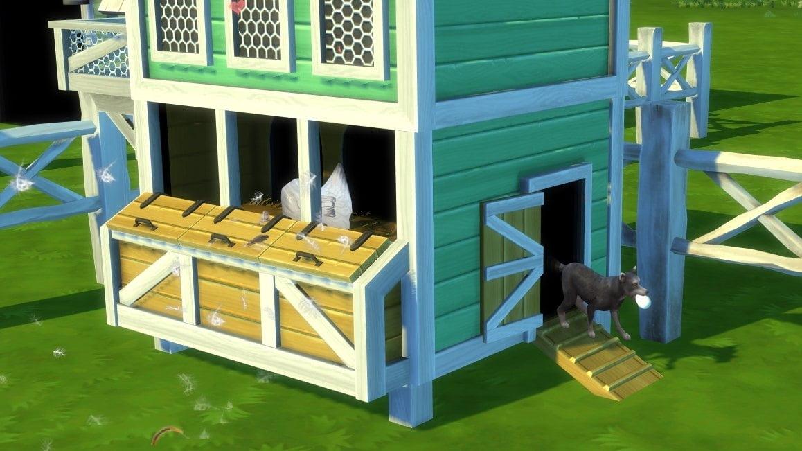 Sims 4 Landhaus-Leben Guide Fuchs verlässt mit Ei im Maul Hühnerstall